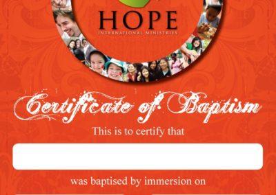 Hope Church Certificate